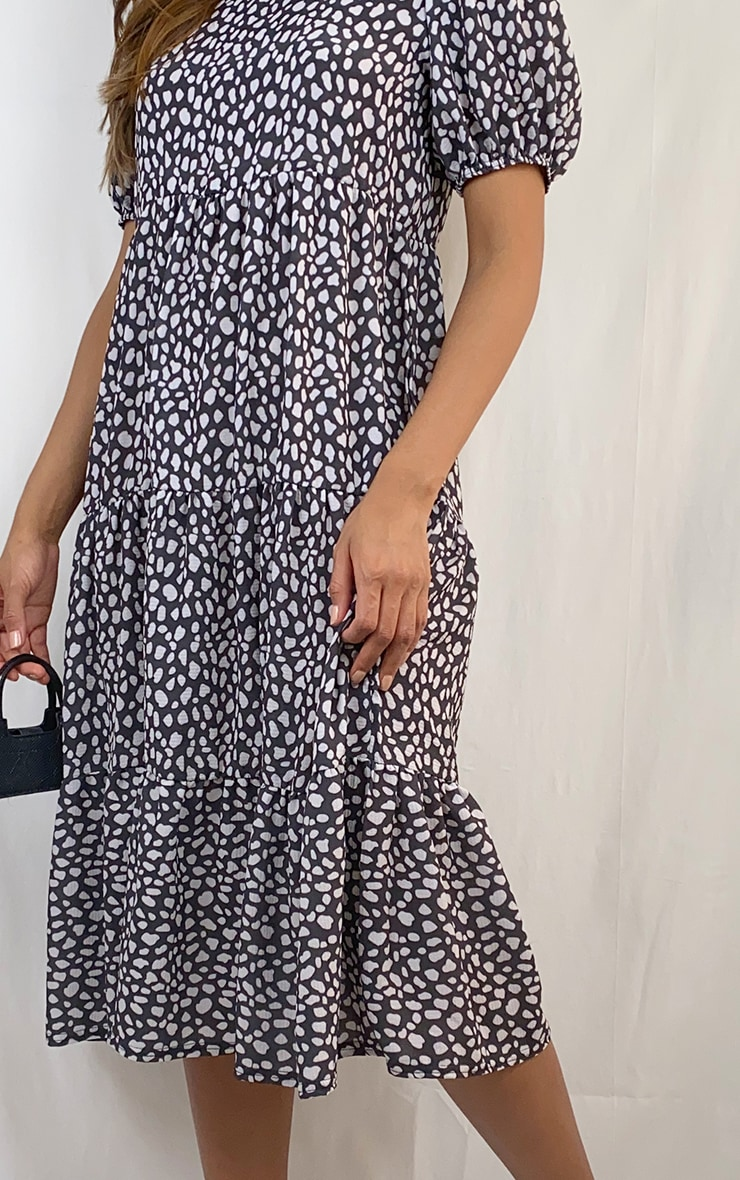 Black Dalmatian Print Puff Sleeve Tiered Hem Midi Smock Dress 4