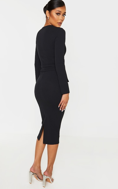 Black Long Sleeve Wrap Waist Midi Dress