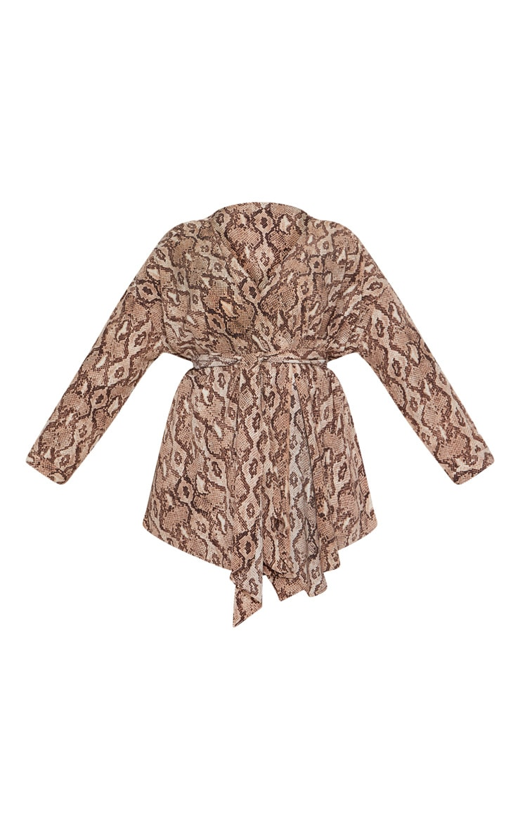 Plus Taupe Snake Print Woven Tie Waist Blouse 3