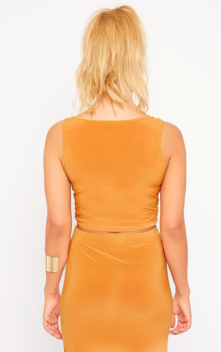 Zuri Mustard Crepe Sleeveless Knot front Crop Top 2