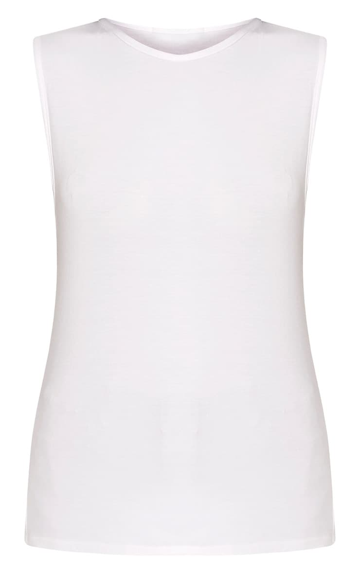Basic White Round Neck Vest 3