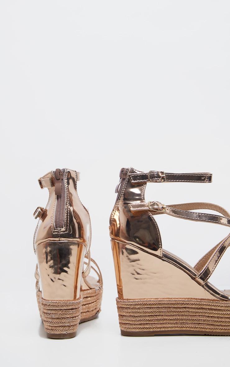 Sandales compensées rose gold à brides 4