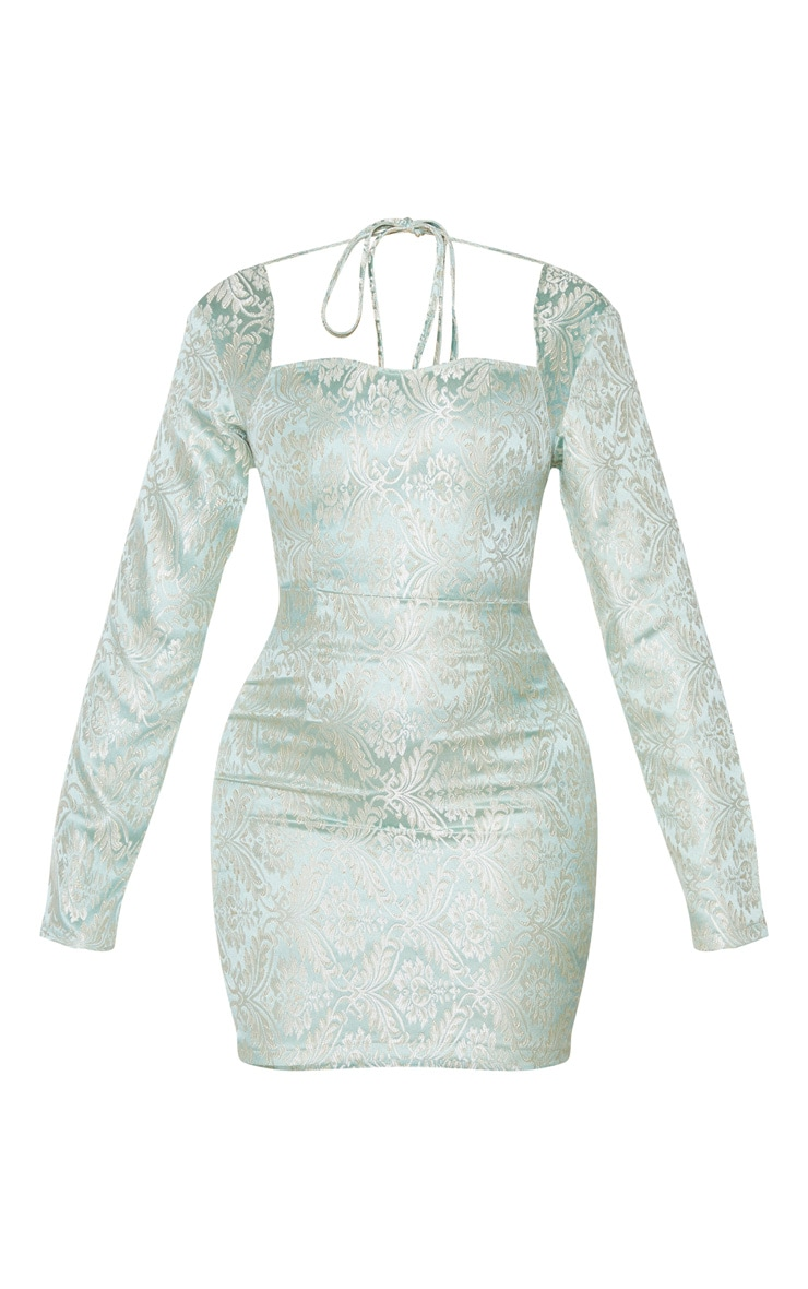 Mint Long Sleeve Jacquard Bodycon Dress 5