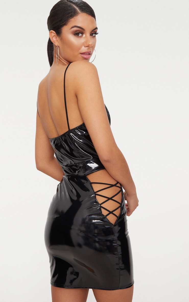Black Strappy Vinyl Lace Up Cut Out Bodycon Dress 2