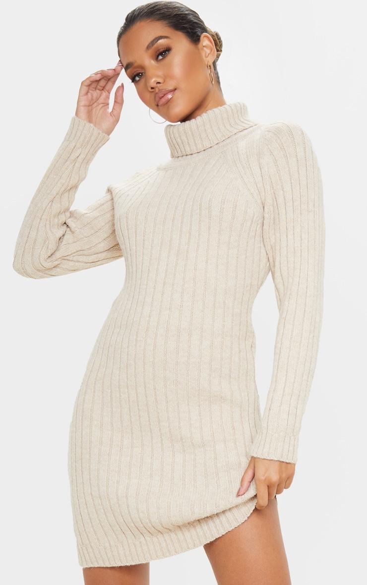 36 Oatmeal knitted dress