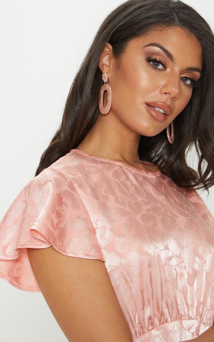 Pink Floral Jacquard Ruched Top Skater Dress 5