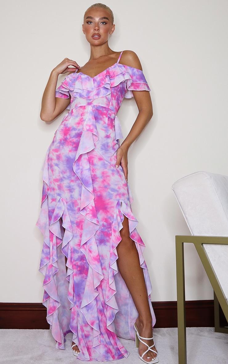 Pink Tie Dye Cold Shoulder Ruffle Detail Maxi Dress 1