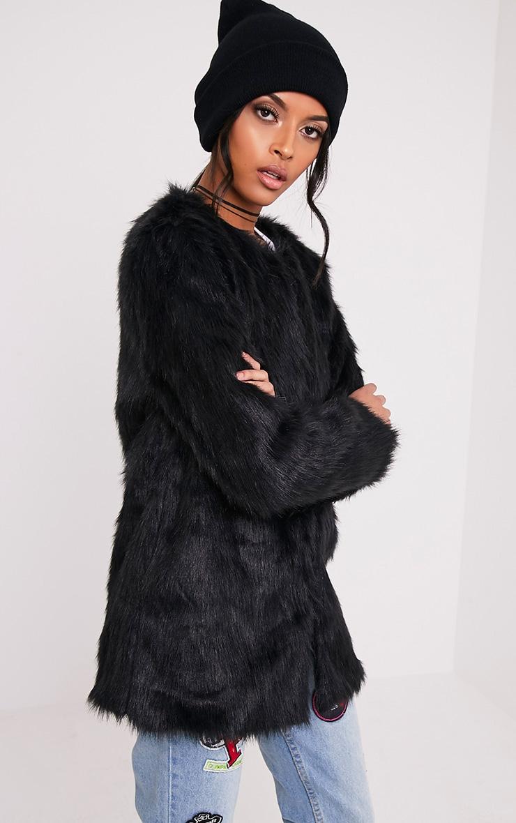 Florencia manteau en fausse fourrure noir 4