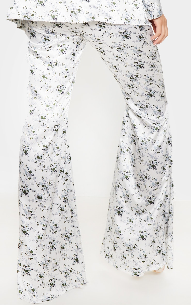 White Ditsy Floral Print Tailored Extreme Flared Trouser 4
