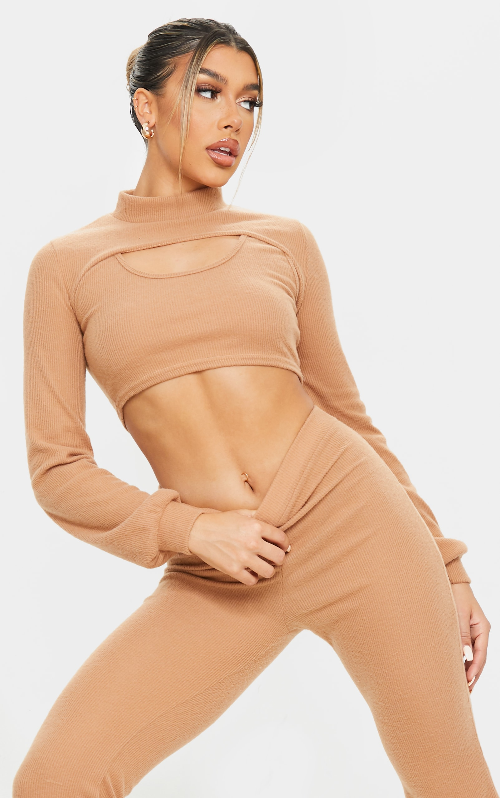 Camel Soft Brushed Rib High Neck Extreme Crop Sweater 1