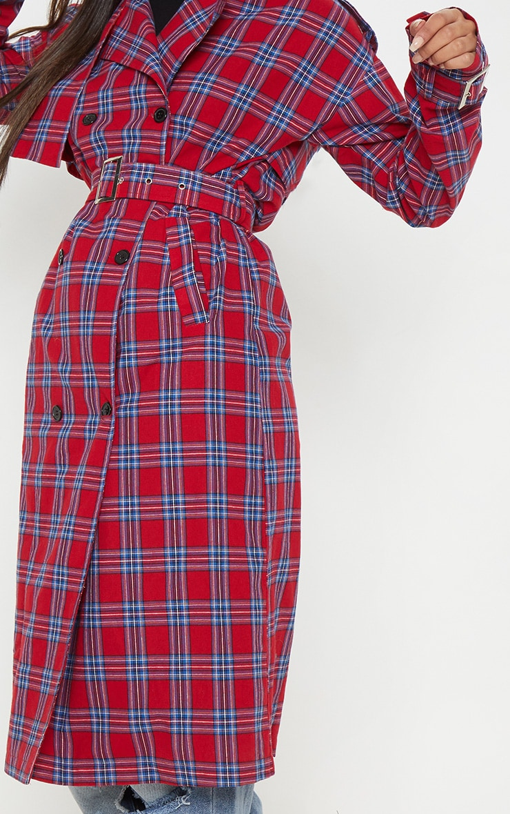 Red Checked Trench  5
