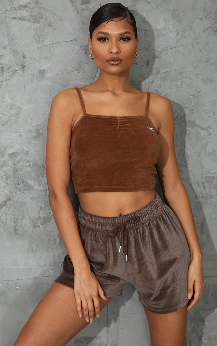 PRETTYLITTLETHING Chocolate Embroidered Velour Strappy Cami Top