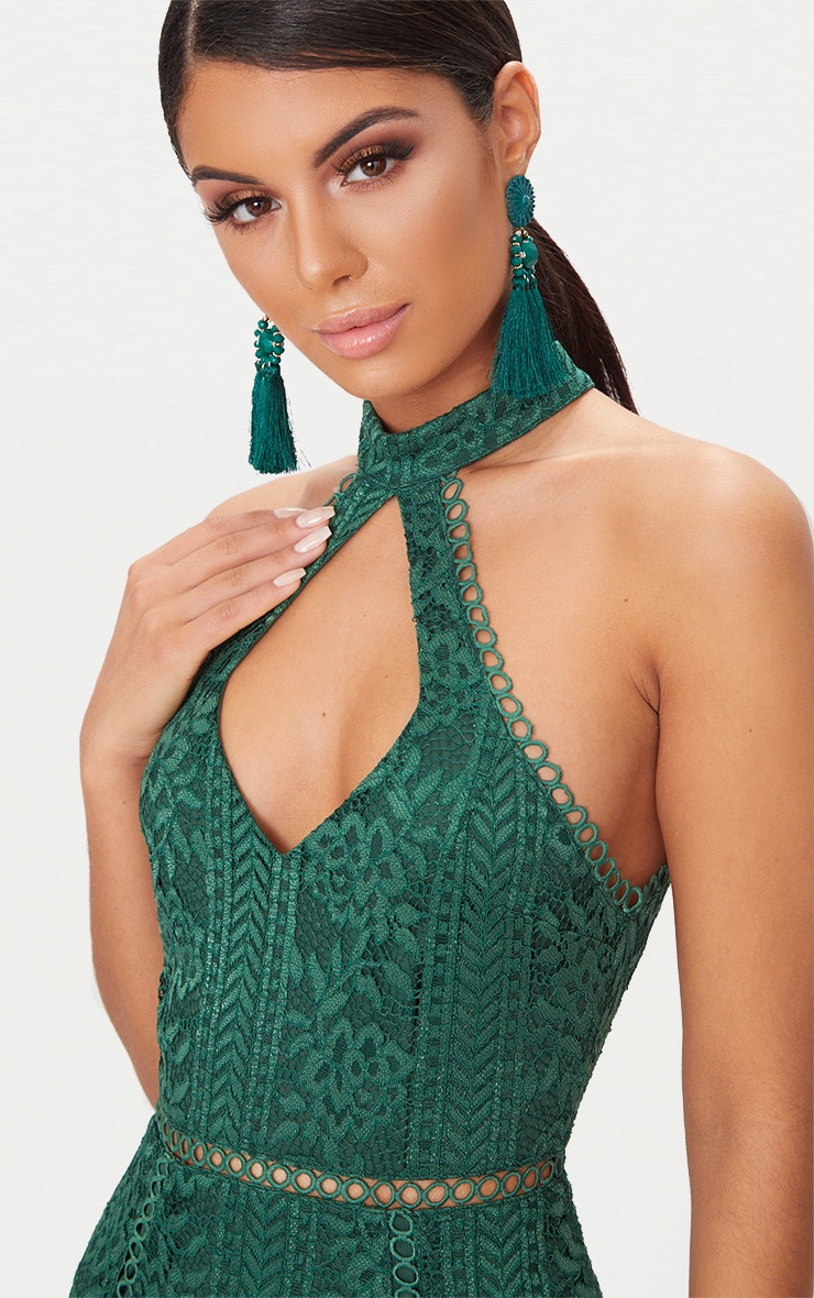 Emerald Green Lace Cut Out Frill Detail Midi Dress 4
