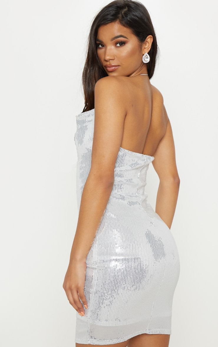 Silver Cowl Neck Sequin Bodycon Dress 2