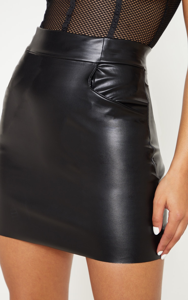 Black Pocket Detail Faux Leather Mini Skirt 5