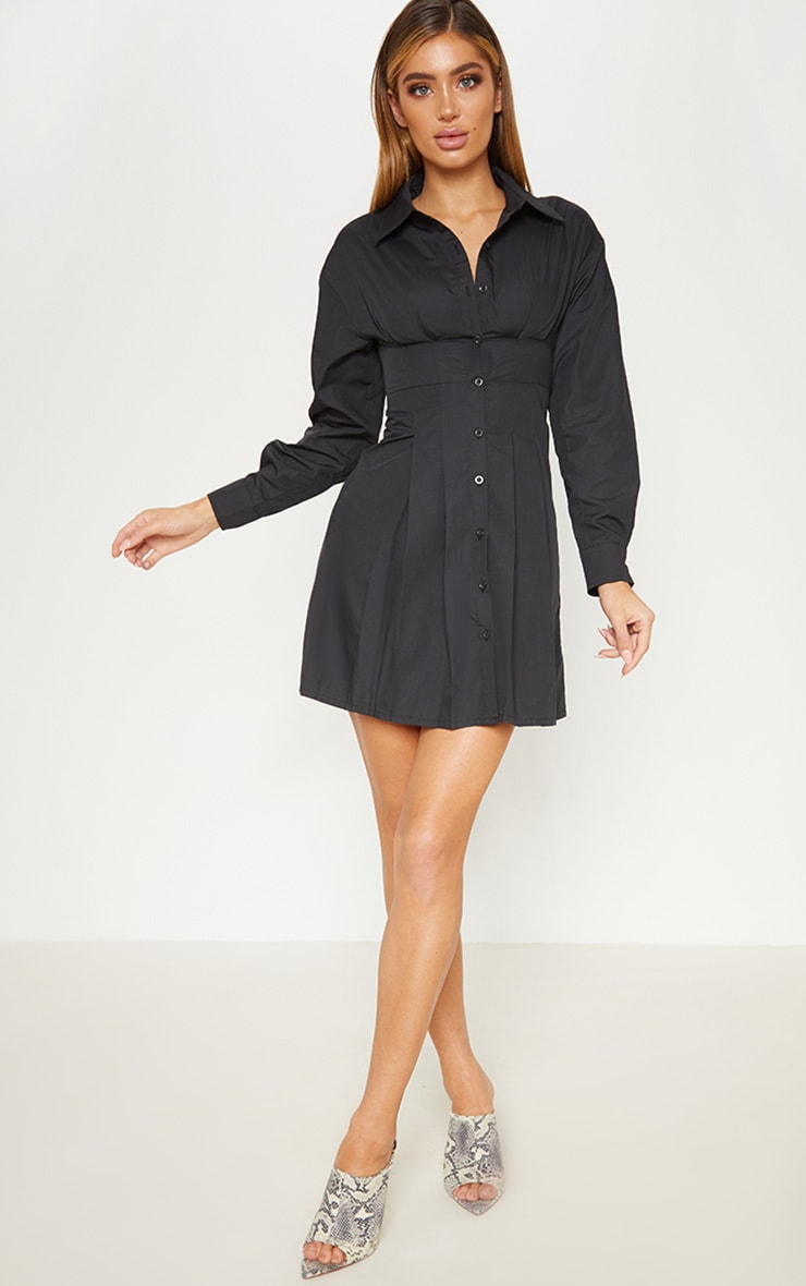 Black Pleated Waist Detail Shirt Dress 5