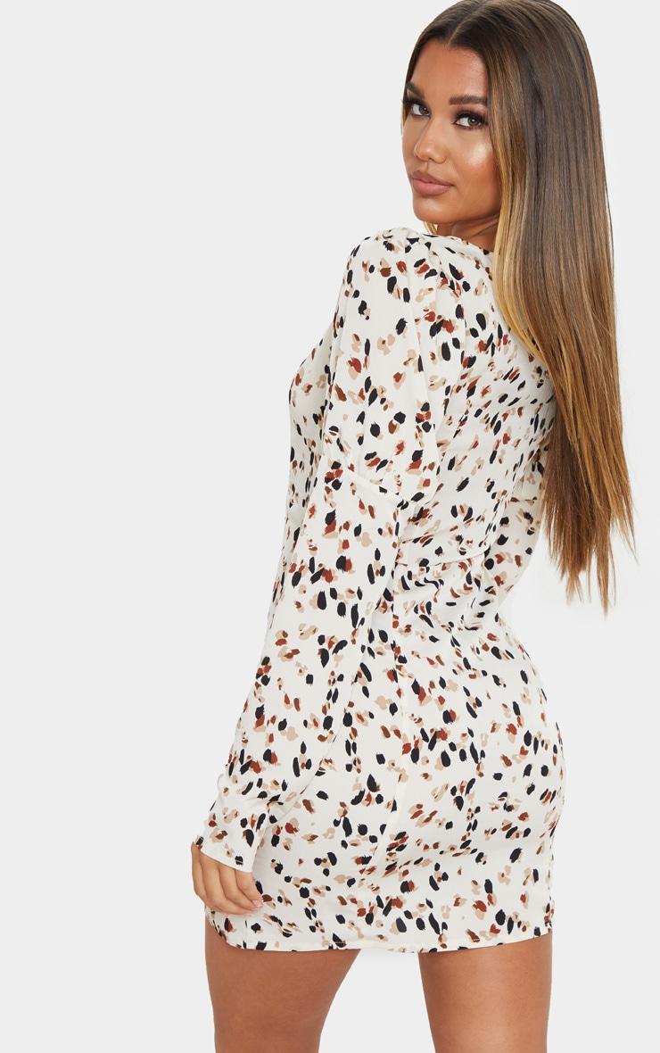 Cream Dalmatian Print Square Neck Side Split Shift Dress 2