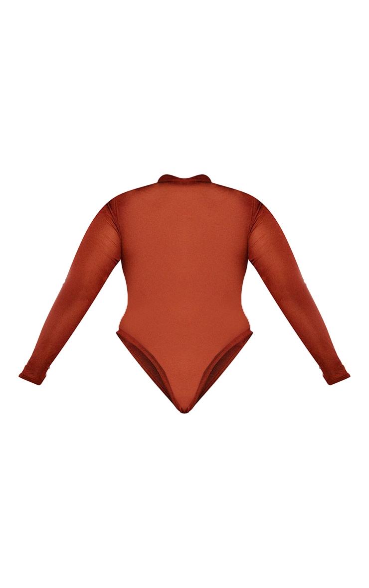 Plus Brown Mesh High Neck Long Sleeve Cut Out Bodysuit 6