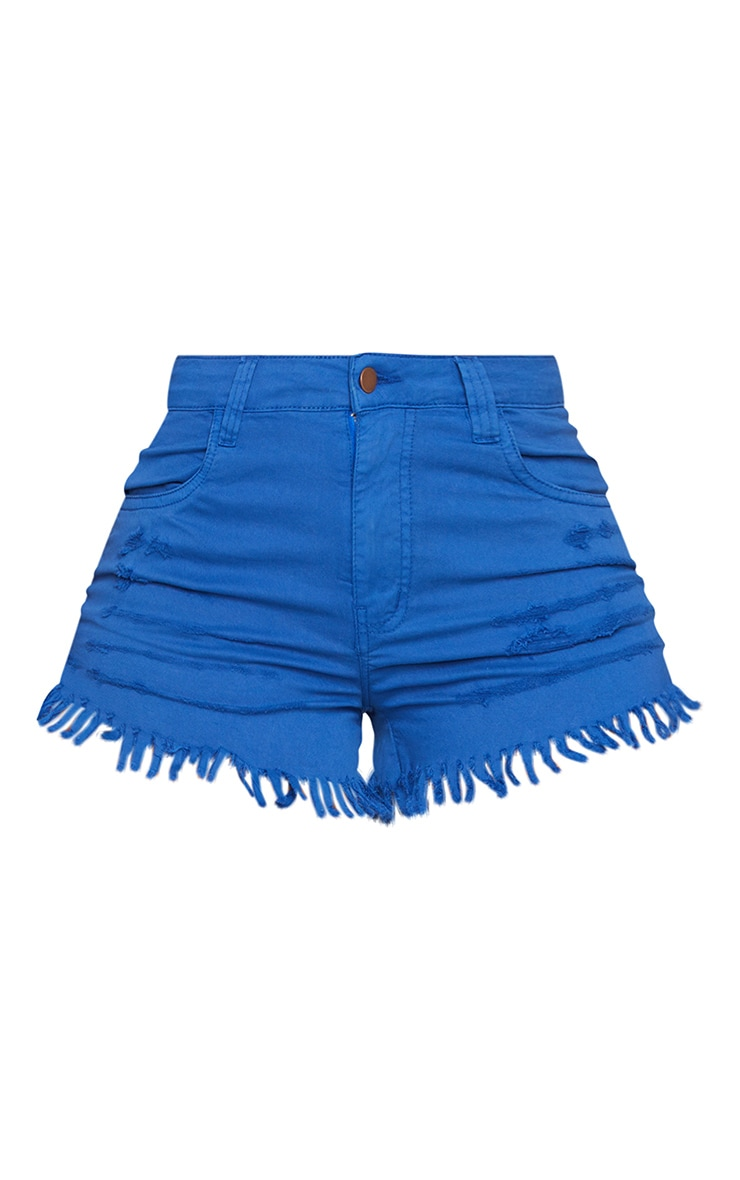 Shape Bright Blue Stretch Distressed Fray Hem Hot Pants 5
