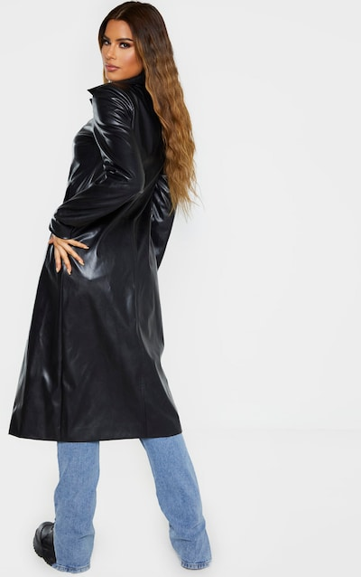 Tall Black PU Longline Trench