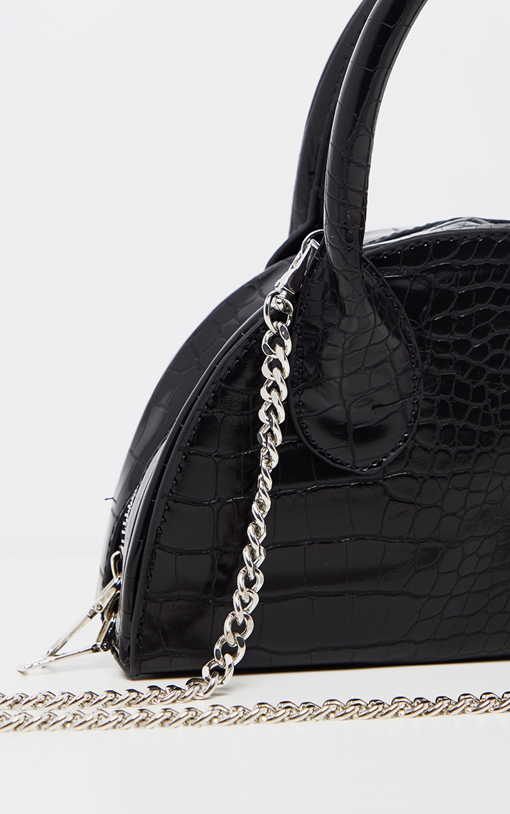 Black Croc Half Circle Mini Grab Bag 3