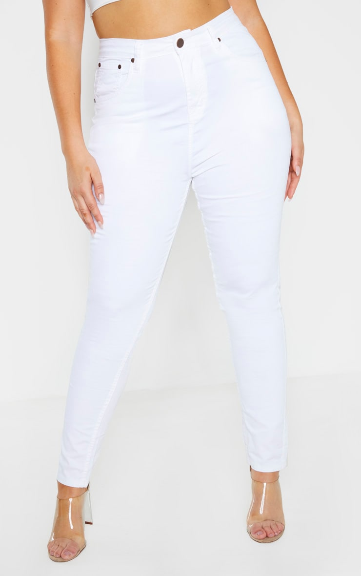 Plus White High Waisted Skinny Jean 2