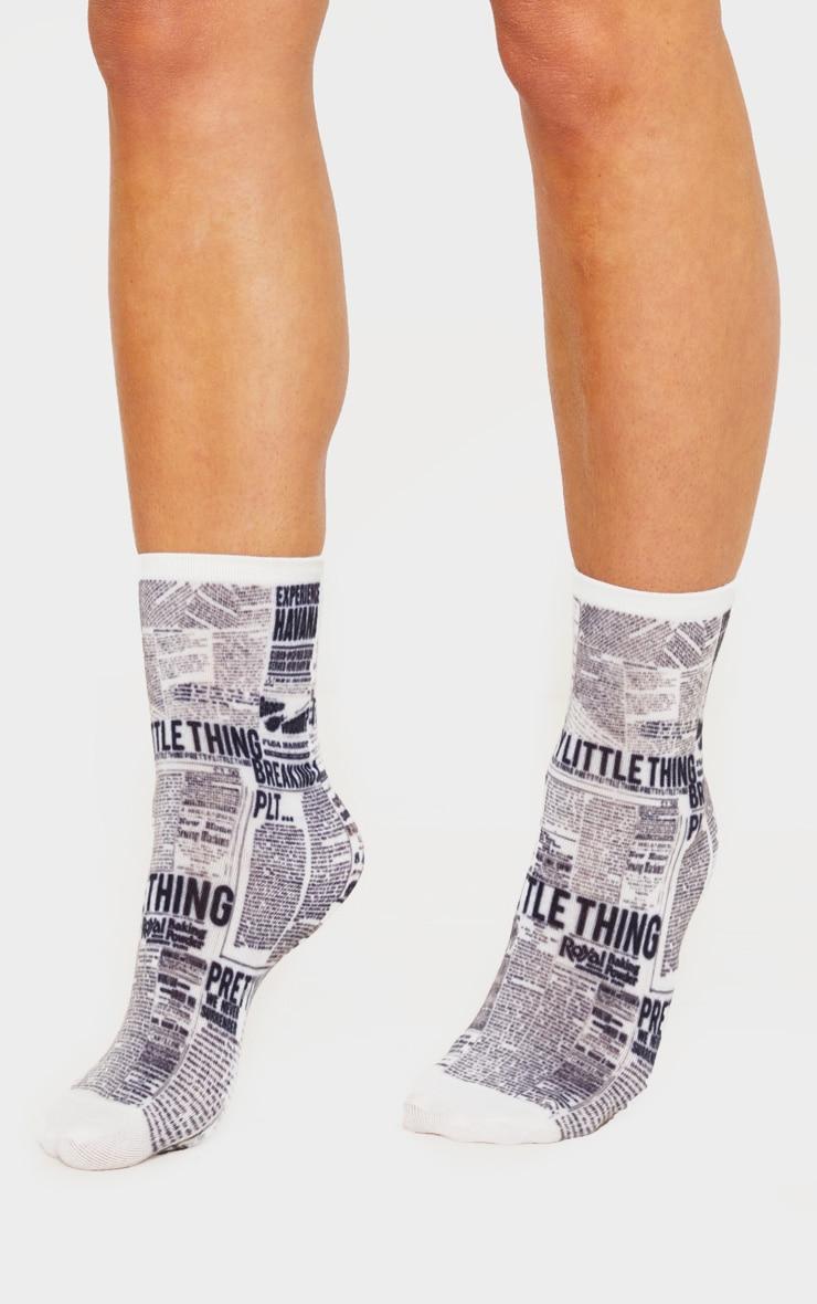 PRETTYLITTLETHING Newspaper Print Sock 1