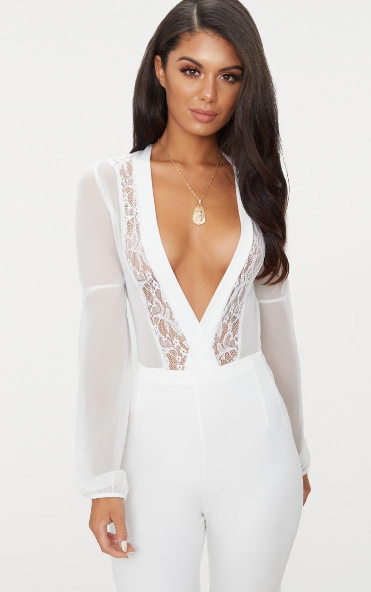 White Mesh Plunge Lace Trim Thong Bodysuit  1