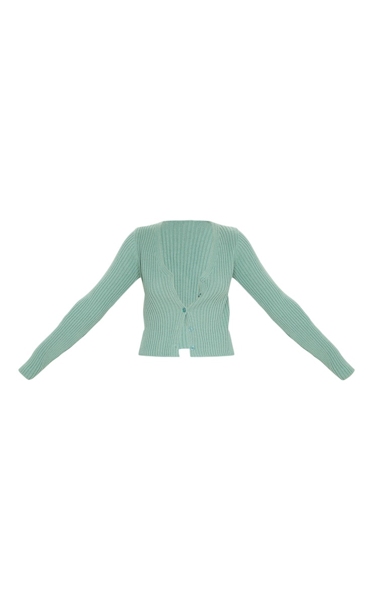 Sage Green Button Front Cardigan 5