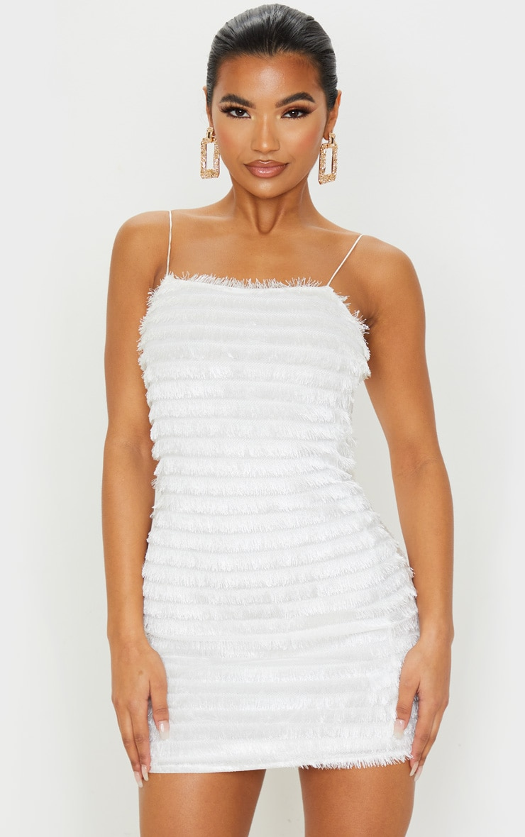 White Fringed Detail Strappy Bodycon Dress 1