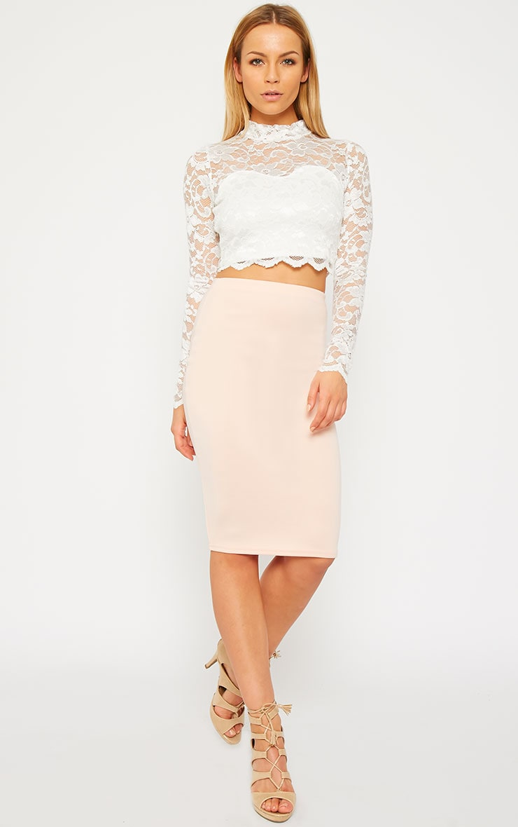 Rachel Cream Lace Turtle Neck Crop Top 3
