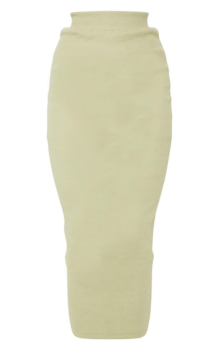 Sage Green Ribbed Midi Skirt 5