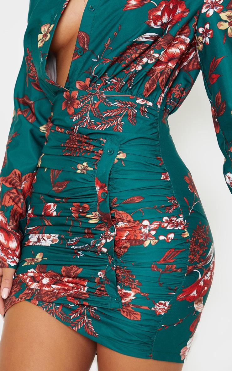 Emerald Green Floral Print Button Detail Ruched Drape Shirt Dress 5