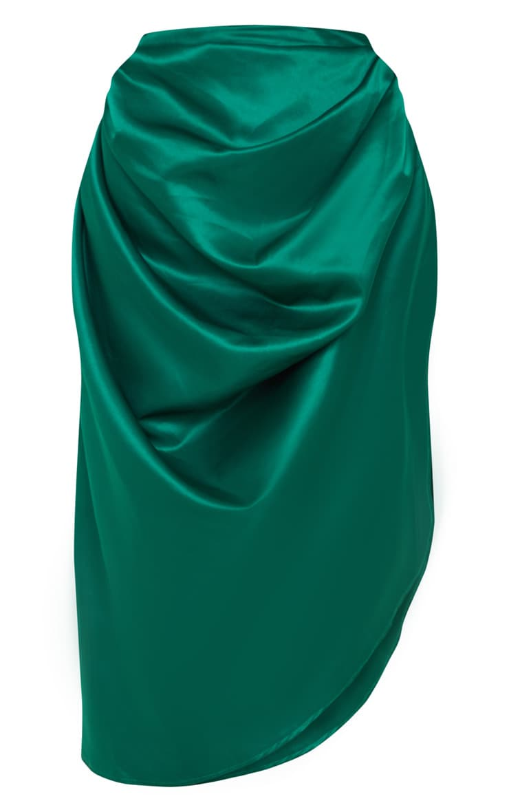Emerald Green Satin Woven Ruched Side Midi Skirt 3
