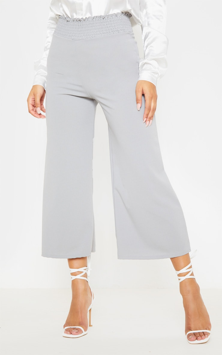 Grey Crepe Shirred Waist Wide Leg Culotte 2