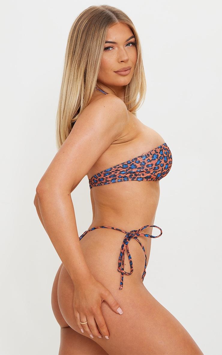Orange Cheetah Print Tie Side Adjustable Mini Thong Bikini Bottoms 2