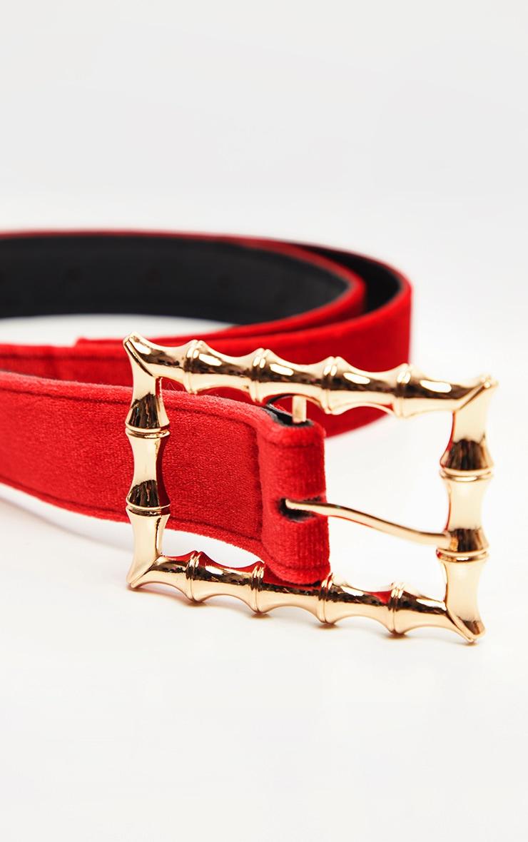 Scarlet Red Velvet Bamboo Buckle Belt 2