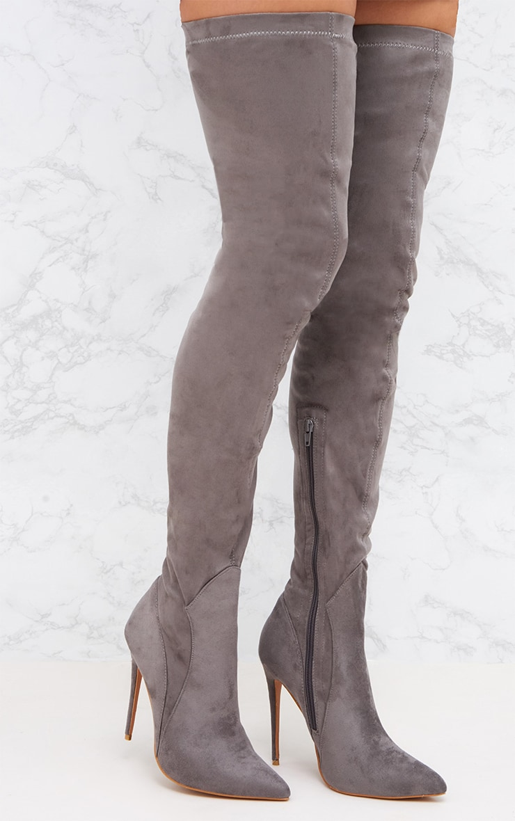 Grey Faux Suede Thigh High Heeled Boots 1