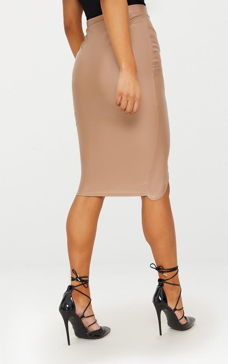 Stone Faux Leather Asymmetric Zip Midi Skirt 4