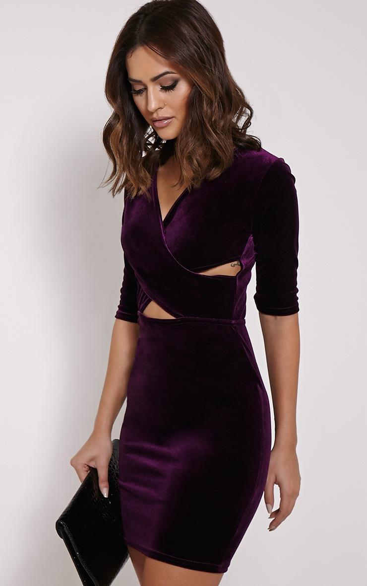 Marti Purple Velvet Cross Front Dress 4