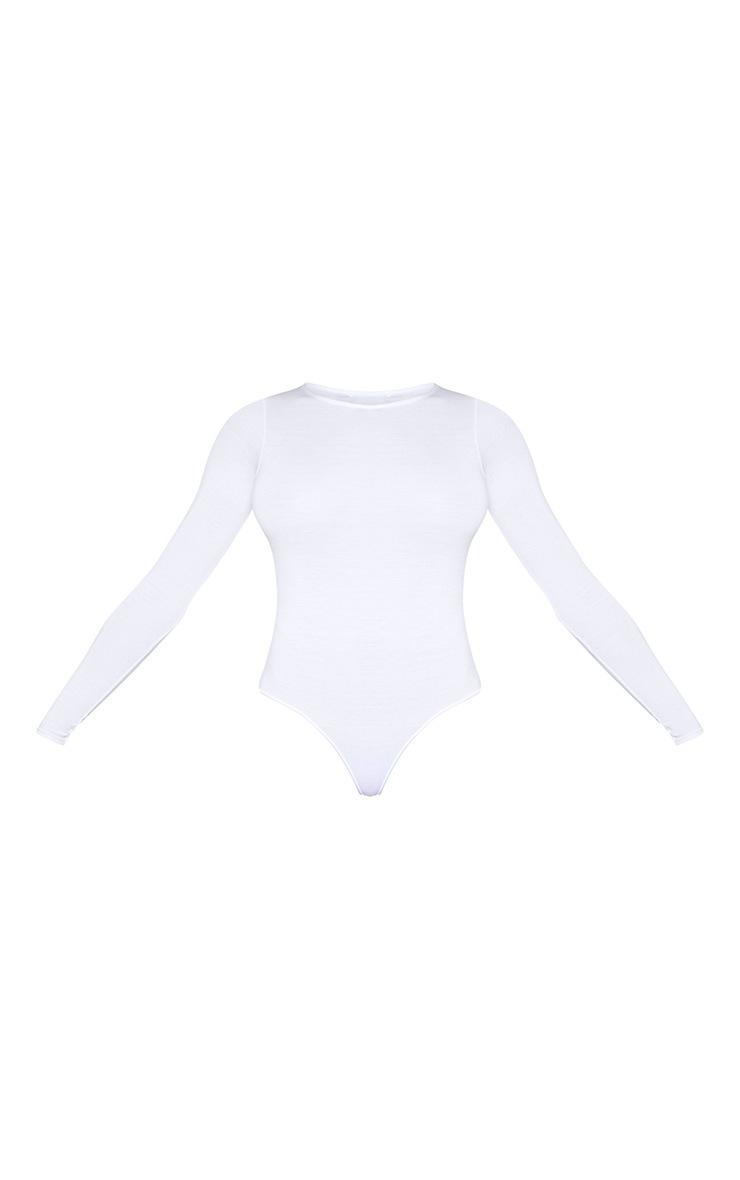 Tall White Basic Crew Neck Long Sleeve Bodysuit 3