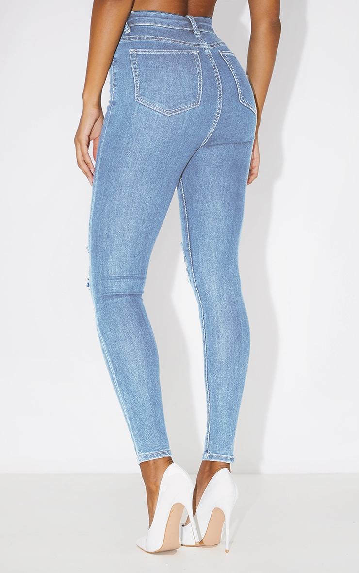 PRETTYLITTLETHING Vintage Wash Knee Rip 5 Pocket Skinny Jean 4
