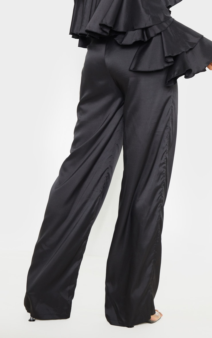 Black Woven High Waisted Wide Leg Trouser 4