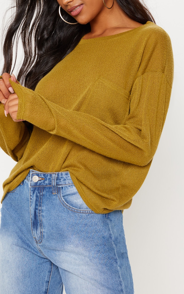 Olive Green Lightweight Knit Long Sleeve Top 5