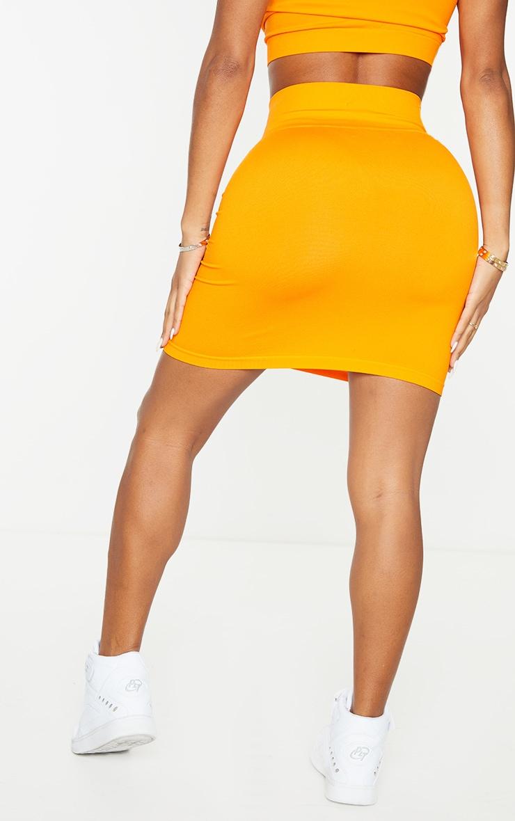 Shape Orange Seamless Contrast Detail Bodycon Skirt 3