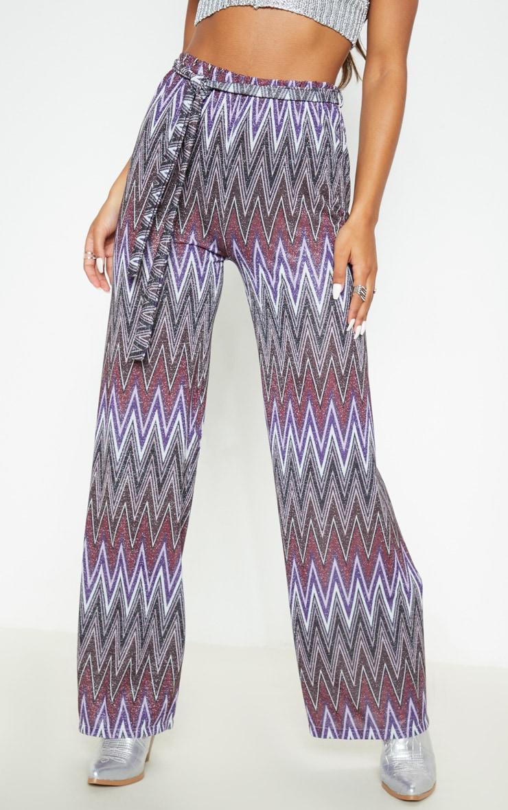Multi Textured Glitter Tie Waist Crop Pant 2