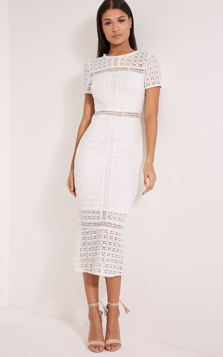 Midira White Crochet Lace Midi Dress Prettylittlething
