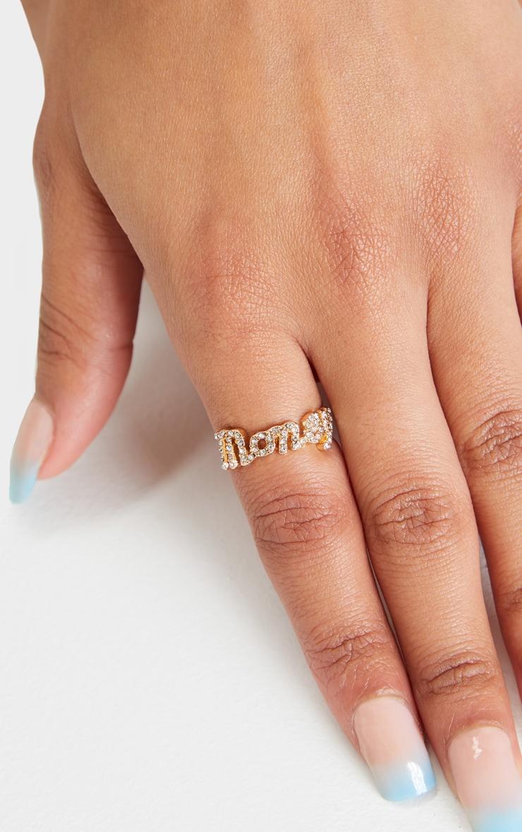 Gold Diamante Script Money Slogan Ring 1
