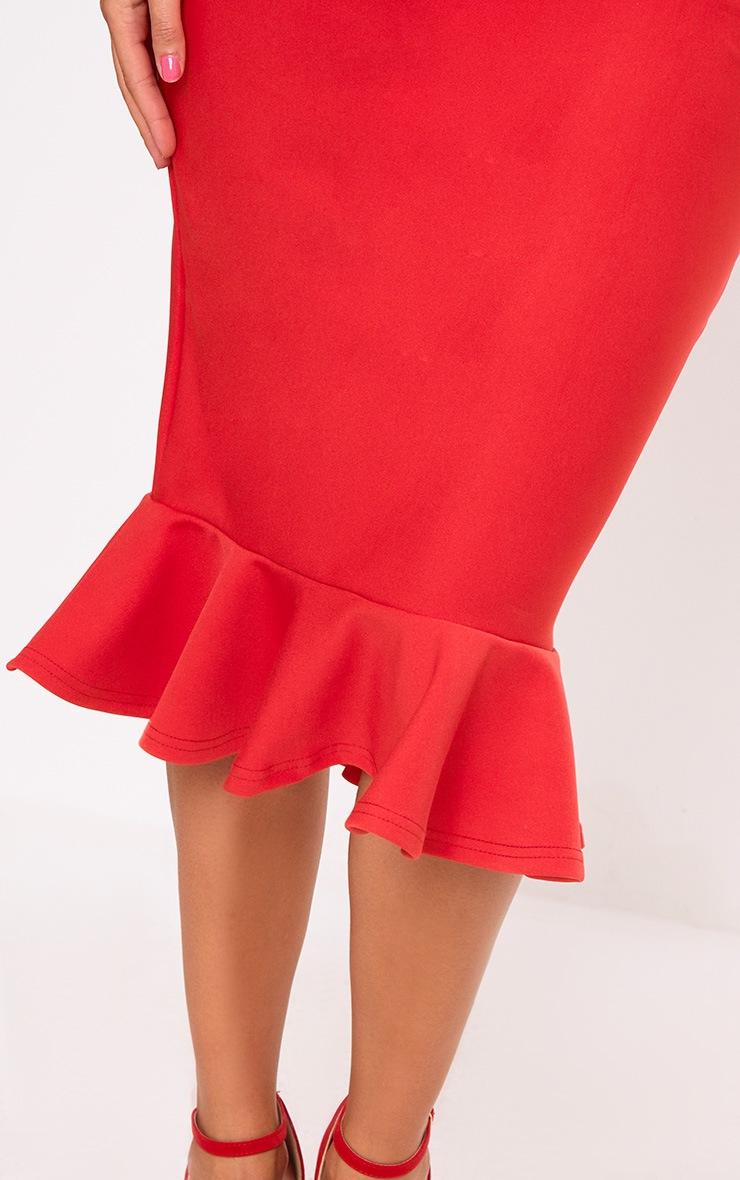 Freada Red Square Neck Frill Hem Midi Dress 5