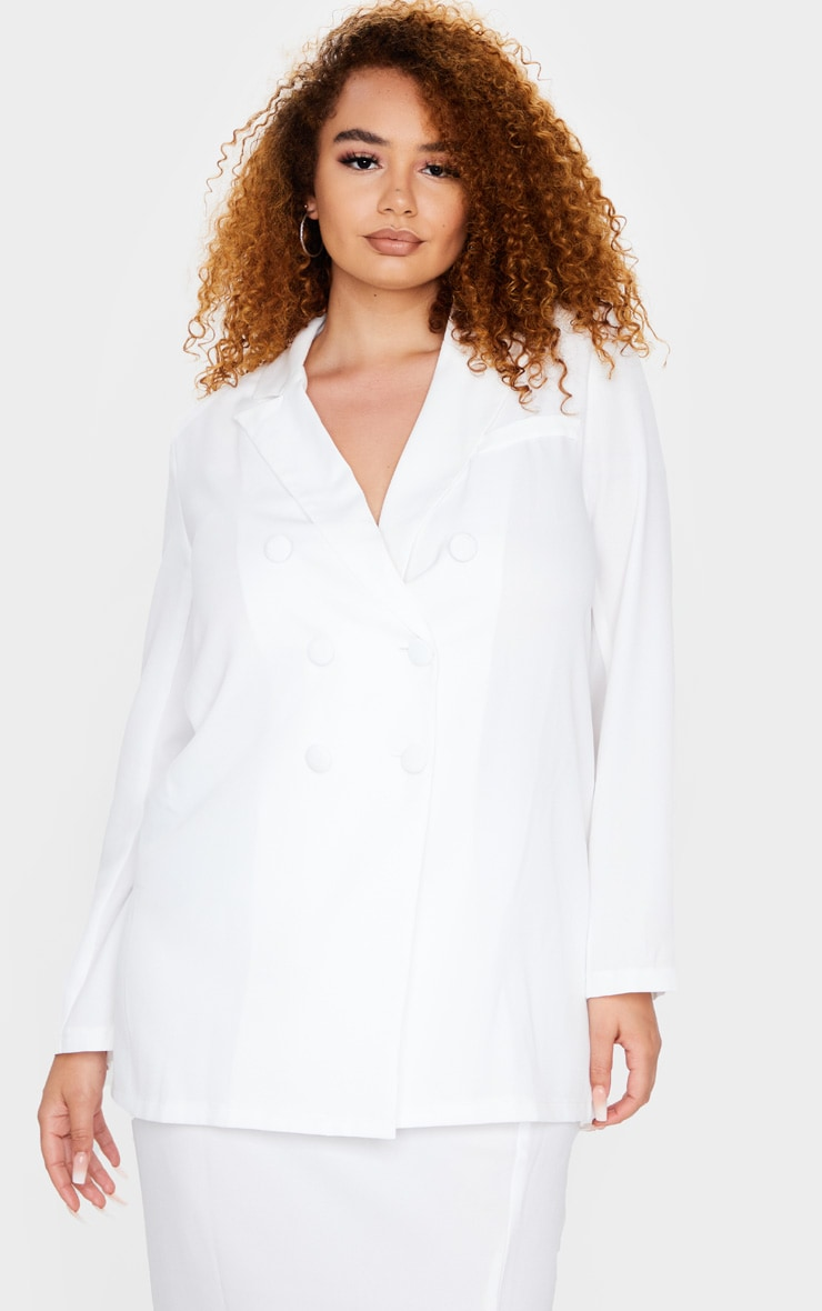 Plus Cream Oversized Longline Button Detailing Blazer 1